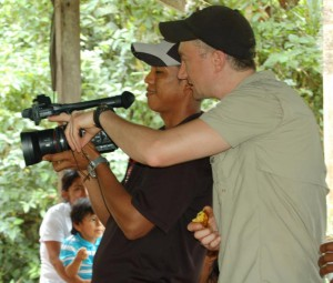 INSTEAD/CICADA Senior Research Associate Steven Schnoor teaching camera operation to member of INSTEAD partner organization. Playita, Urracá, Panama, April 2015