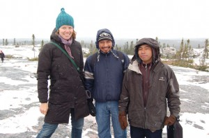 University of Ottawa professor of anthropology and CICADA collaborator Karine Vanthuyne with Guatemalan project partners Aniseto Lopez and Alfredo Perez in the Cree community of Wemindji in northern Quebec. October 2015